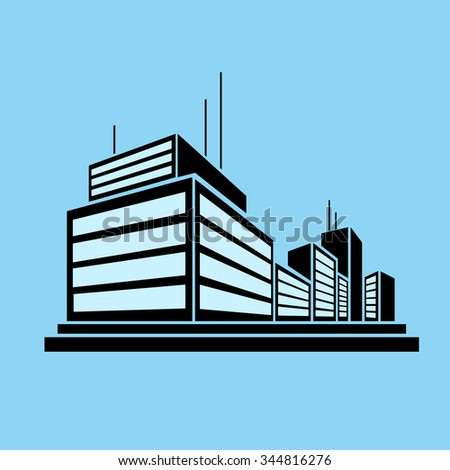 Building Business Office Real Estate Silhouette Icon Logo Vector Illustration - stock vector