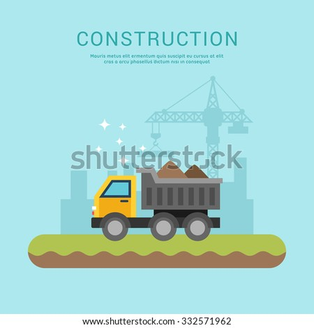 Building Concept. Dump Truck. Vector Illustration in Flat Design Style for Web Banners or Promotional Materials