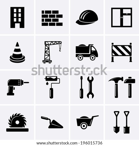Building, Construction and Tools Icons - stock vector