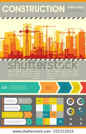 Building construction illustration for websites. City skyline construction background with step banners and infographics elements - stock vector