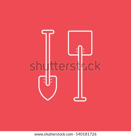 Building Construction Tool Shovel Line Icon On Red Background