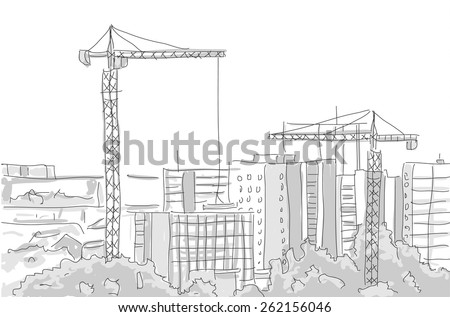 building construction tower crane draw graphic design. vector illustration - stock vector
