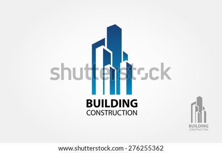 Building construction vector logo design template - stock vector