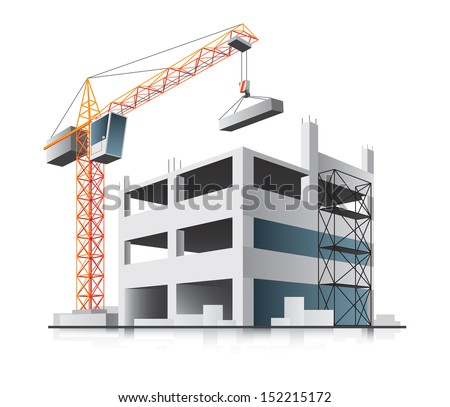 Building construction with crane in the city on white background  - stock vector