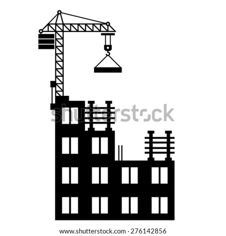 Building Construction with Crane on White Background. Vector - stock vector