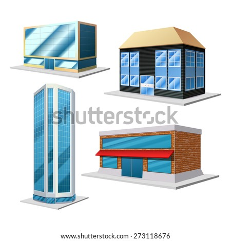 Building 3d decorative set with four different modern house isolated on the white background isolated vector illustration - stock vector