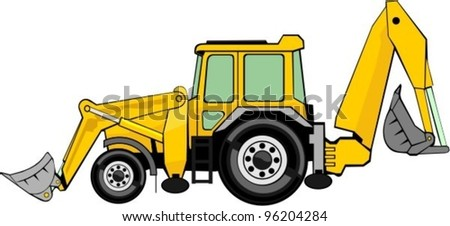building excavator and frontal loader on a wheel base - stock vector