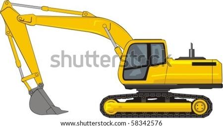 building excavator on a caterpillar base - stock vector