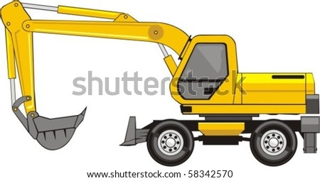 building excavator on a wheel base - stock vector