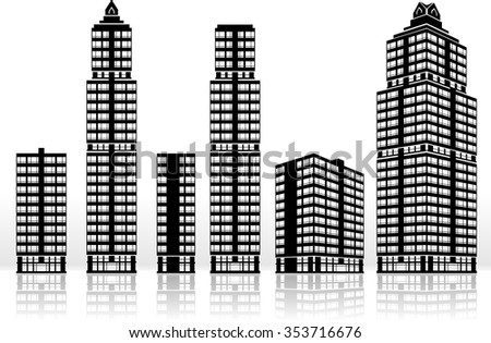 Building Exterior-Isolated built structures urban scene - stock vector
