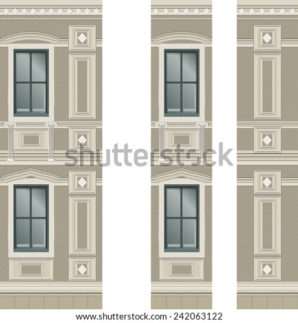 Building facade parts - walls - Vector Illustration - stock vector