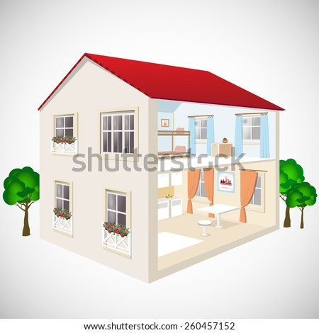 Building flat 3d web isometric concept vector. Exterior and interior isometry rooms. House in cut. Detailed modern house interior. Rooms with furniture - stock vector