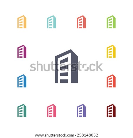 building flat icons set. Open colorful buttons  - stock vector