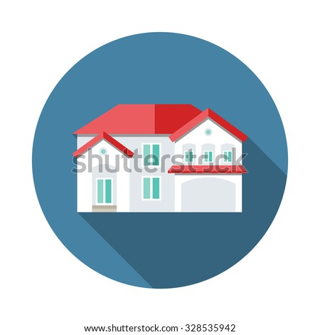 Building house flat icon with long shadow - stock vector
