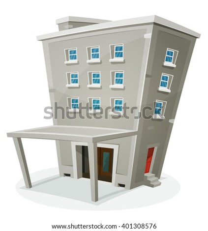 Building House With Offices Or Apartments/ Illustration of a cartoon stone building house with levels, entrance, hall, porch, windows and back door, with home or office rooms - stock vector