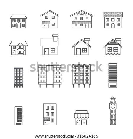 building icon.line vector - stock vector