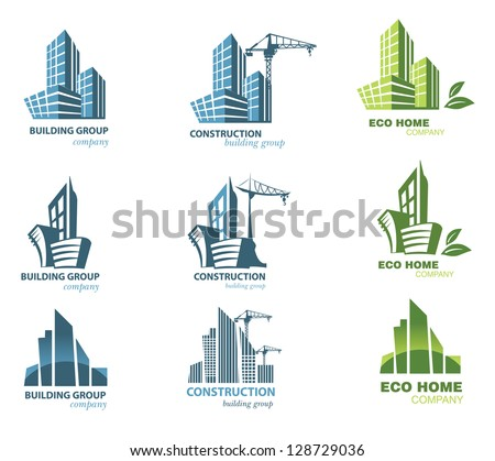 Building icon set. Abstract architecture - stock vector