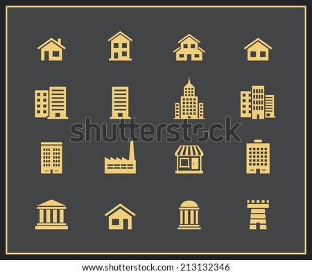 Building icon set. Factories, houses and buildings icons Vector illustration - stock vector