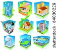 Building icon set. Vector - stock vector