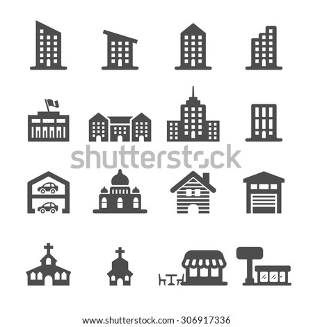 building icon set 3, vector eps10. - stock vector