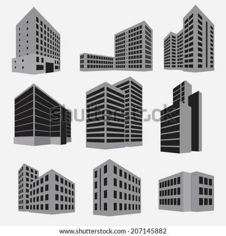 Building icon set. Vector illustration - stock vector