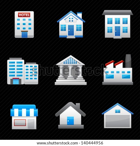 Building Icons and black background - stock vector