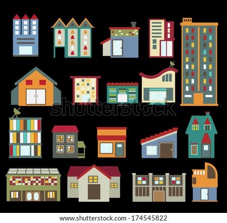 Building Icons isolated on white background - stock vector