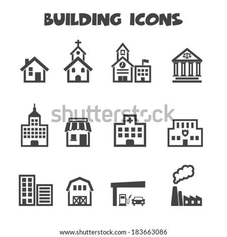 building icons, mono vector symbols - stock vector