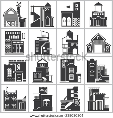 building icons, old facades  icons - stock vector