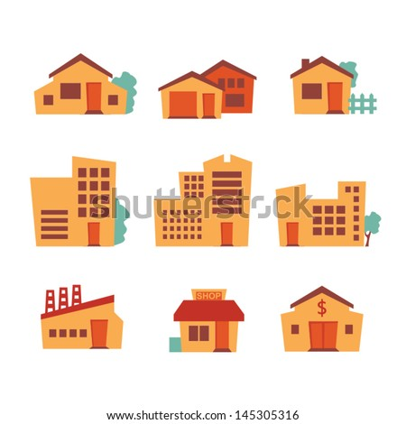 Building icons - retro style - stock vector