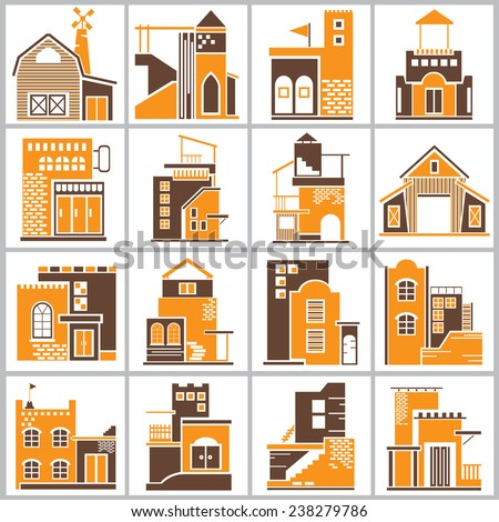 building icons set, accommodation icons with brown and orange theme - stock vector