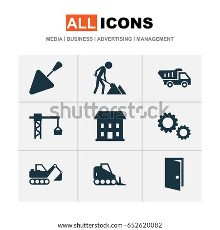 Building Icons Set. Collection Of Tractor, Cogwheel, Truck And Other Elements. Also Includes Symbols Such As Tipper, Cogwheel, Entrance.