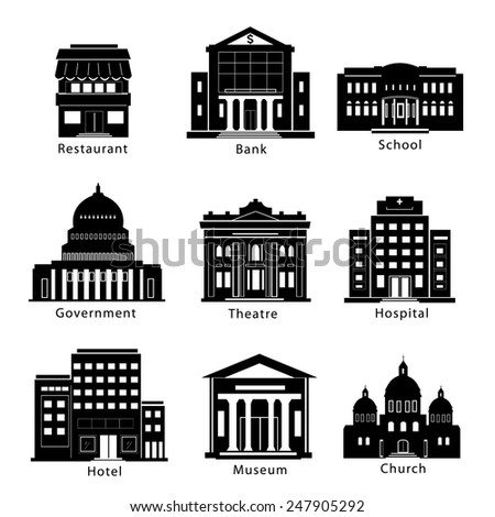 Building icons set: government, museum, theater, hospital, restaurant, hotel, church, school, bank  isolated. vector illustration - stock vector