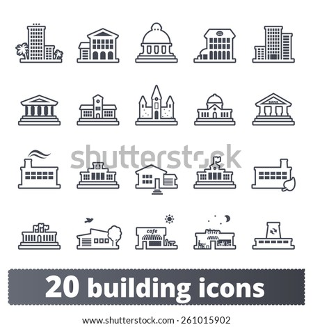 Building icons set: vector signs of places for maps, web interfaces and services. Outline series. - stock vector