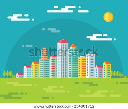 Building in city - vector concept illustration in flat design style for presentation, booklet, web site and different design projects. Urban Cityscape illustration. Real estate. - stock vector