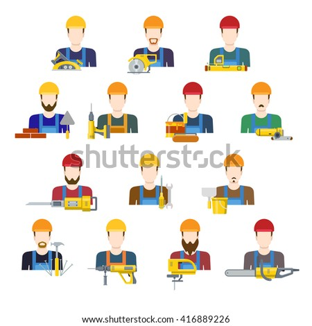 Building industry builders profession worker staff userpic avatar creative people icon set. Flat style carpenter painter decorator mason bricklayer stonemason builder laborer hunky tiler app icons. - stock vector