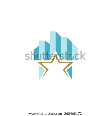 Building logo with skyscrapers and star as a base. - stock vector