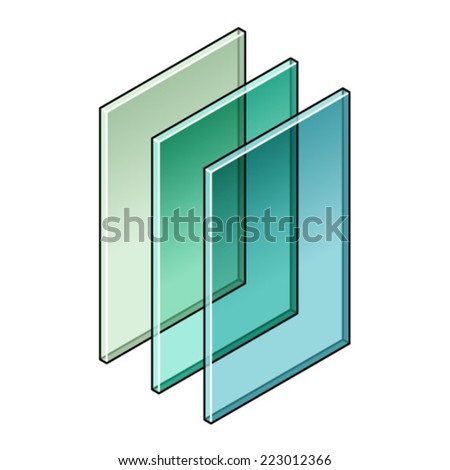 Building material: Three sheets of tinted glass. - stock vector