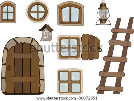 Building objects. Windows and doors. - stock vector
