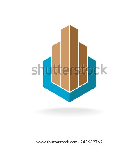 Building or real estate logo template. Skyscrapers in a hexagonal shape background. - stock vector