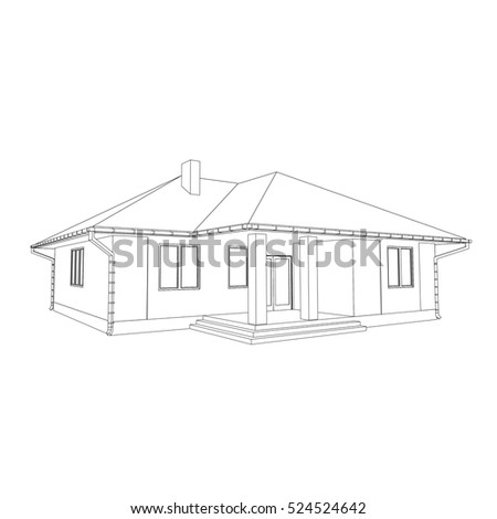 Building drawing stock vector 336299126 shutterstock 3d house drawing