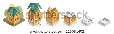 Foundation icon stock images royalty free images for Step by step in building a house