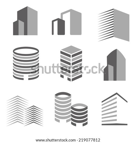 Building real state icons vector set - stock vector