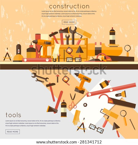 Building, repair and decoration works. A set of tools for the repair, construction. Set of worker tools flat icons. 2 banners. - stock vector