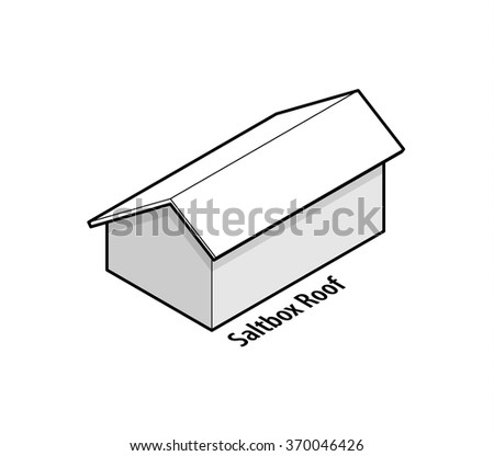 Building roof type: saltbox roof.