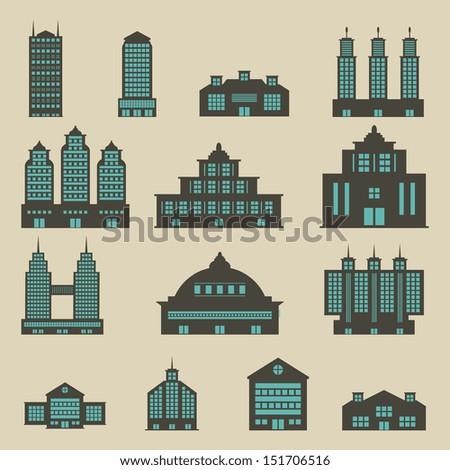 Building set - Color - stock vector