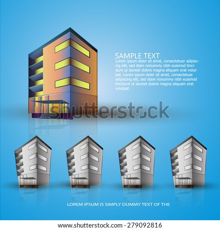 Building. Several buildings on a blue background. Template layout