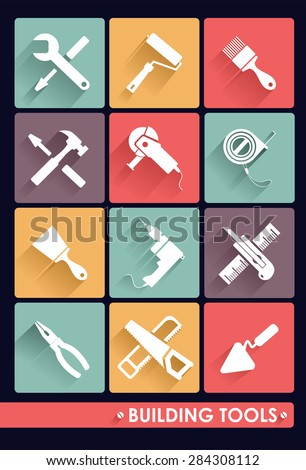 Building tools. Icons. - stock vector