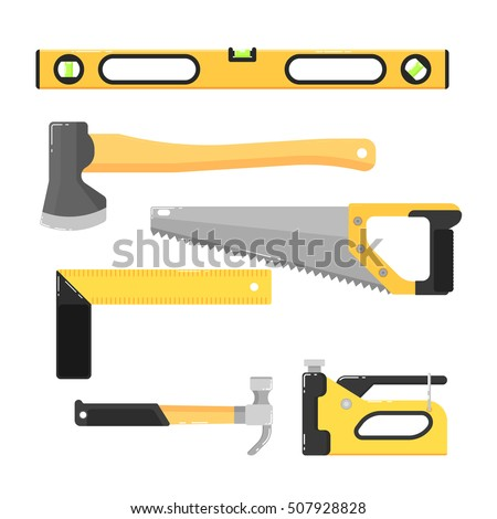 building tools clipart. building tools isolated on white background vector illustration. hammer, saw, axe, stapler clipart
