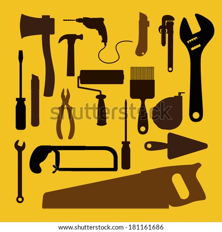 building tools over yellow background vector illustration